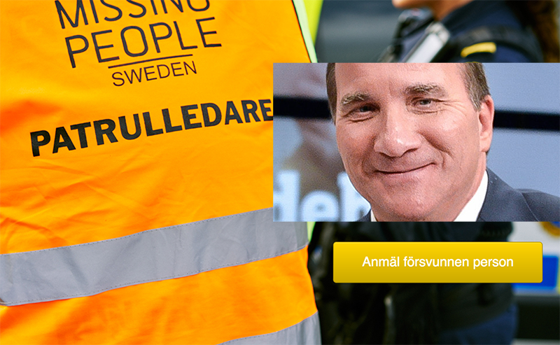 Stefan Löfven sökt av Missing People?