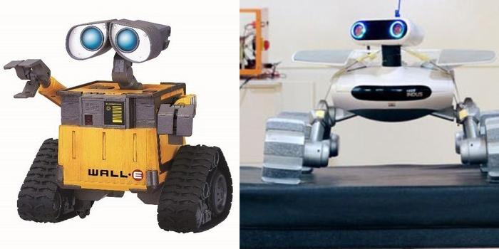 Fantasiroboten Wall-E och en prototyp vid namn ECA Foto: Vincent Fournier