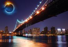 Solförmörkelse över New York - Bilden är ett montage