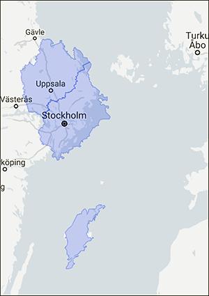 Karta över övningsområdet under Aurora 17