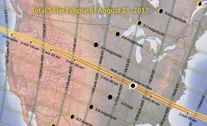 Solförmörkelse i USA,   2017 - Bild: Michael Zeiler, GreatAmericanEclipse.com