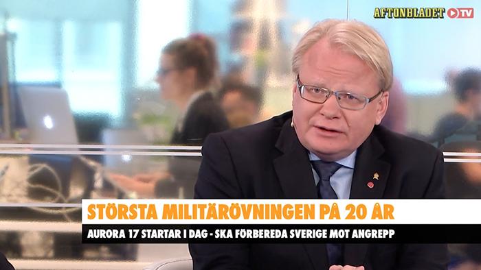 Aftonbladet TV samtalar med Peter Hultqvist om Ryssland och militärövningen Aurora 2017