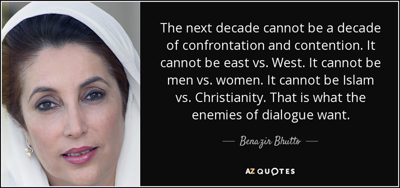 F.d. Pakistans premiärminister Benazir Butto (1953-2007) ville ha dialog