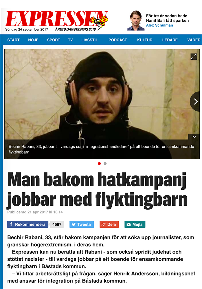 B. Rabani hängs ut av David Baas - Expressen skärmdump 21 april 2017