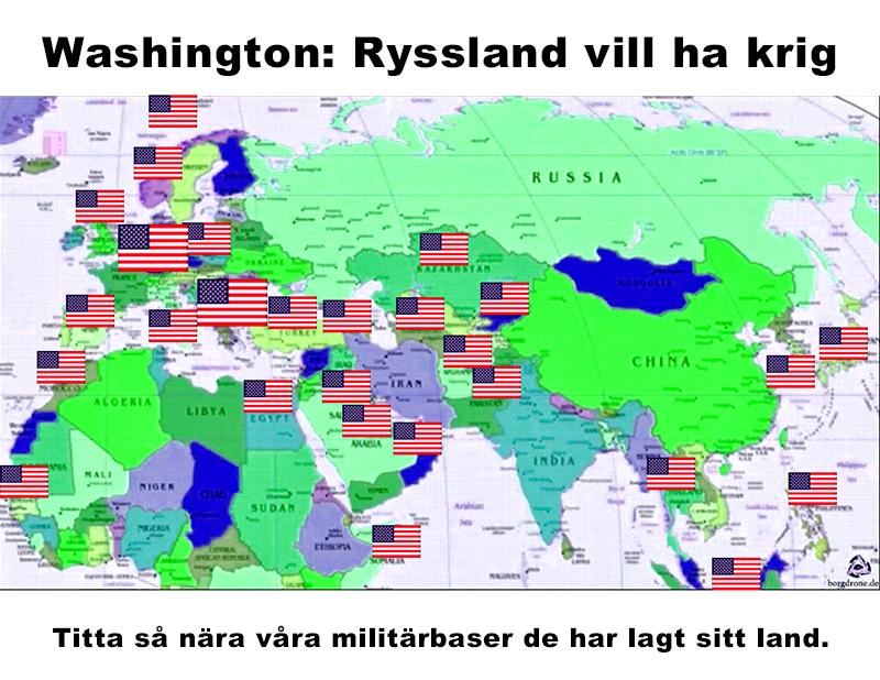 USA:s militärbaser placeras nära Ryssland och det amerikanska imperiet