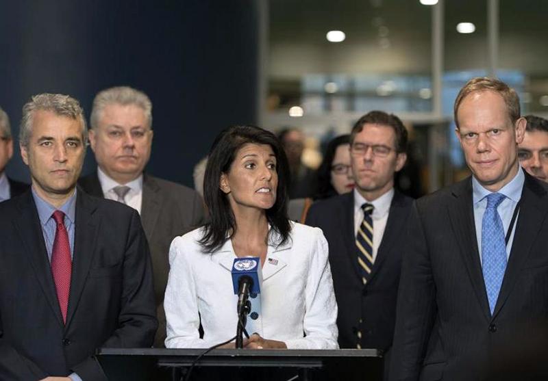 USA:s FN-ambassadör Nikki Haley 28 mars 2017 - Foto: Mark Garten, UN