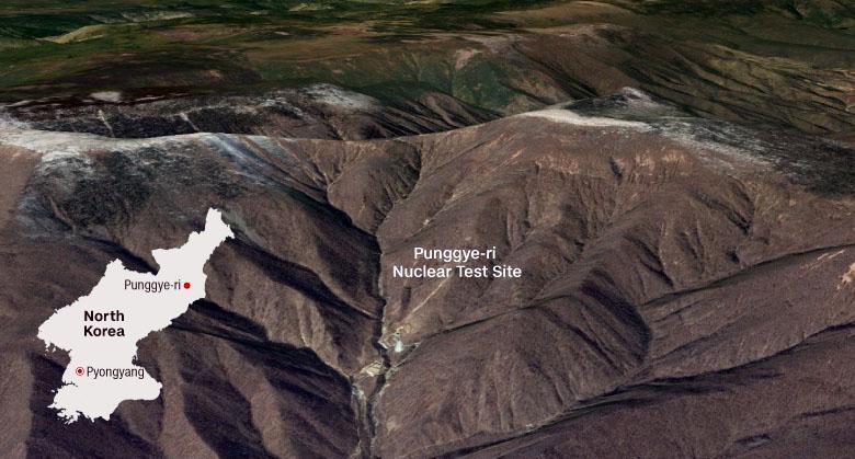 Vätebombstest - Nordkoreas testområde för vapen - Bild sammanställd av CNN baserad på Google Earth