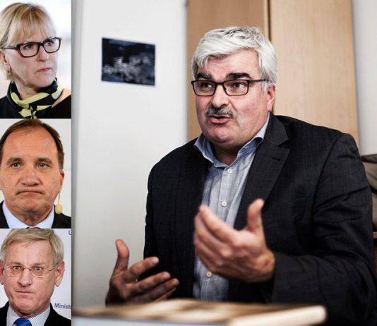 Håkan Juholt om Sverigebilden - Foton: Carlos Zaya (Juholt), Lehtikuva, Yle (Wallström), Maja Suslin (Löfven), fotograf okänd (Bildt)