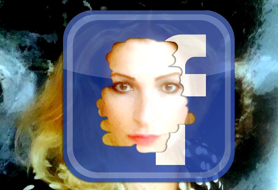 NewsVoice montage: Foto av Katerina Janouch och Facebooks logo