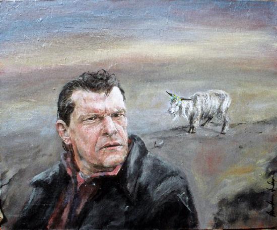 Christer Pettersson bredvid en syndabock - Målning av MarkusAndersson