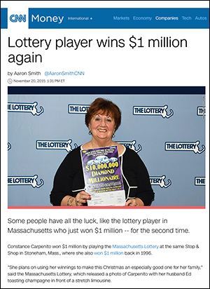 Lottery player wins $1 million again - CNN Money
