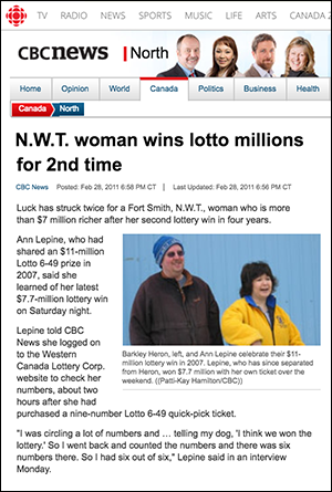 N.W.T. woman wins lotto millions for 2nd time - CBC News