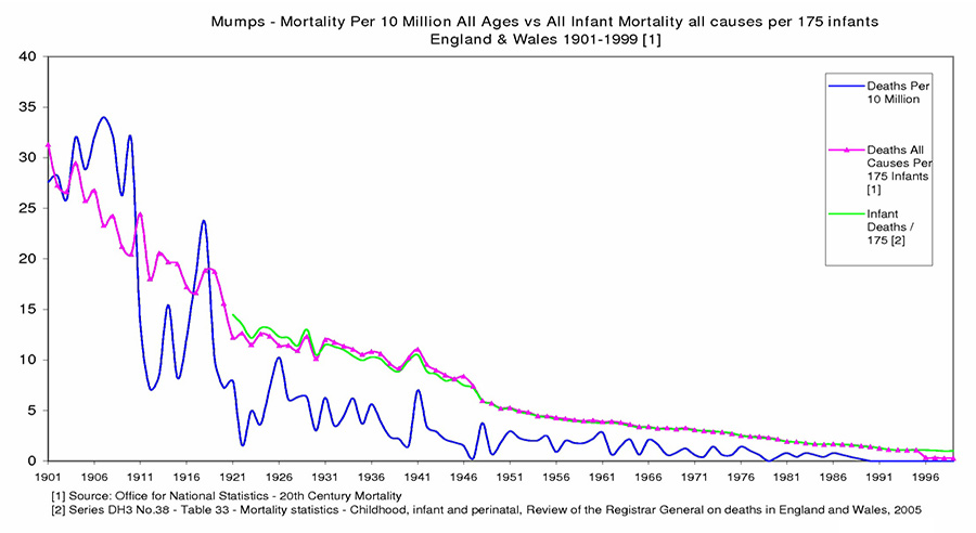Mumps mortality rate in England 1901-1996