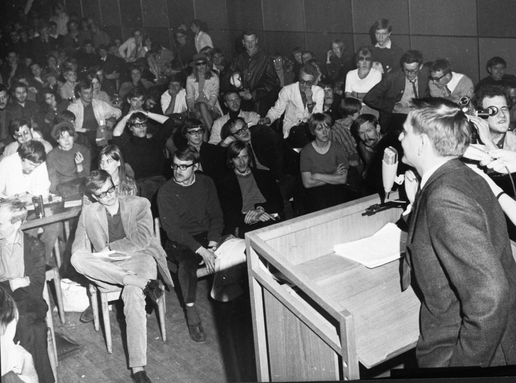Kårhusockupationen 1968, Olof Palme talar - Foto: Scanpix, Wikimedia Commons