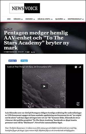 NewsVoice om Pentagons UFO-observationer
