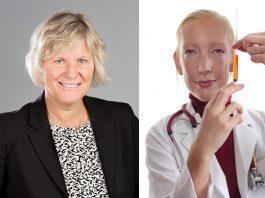"""Ann-Marie Begler (Försäkringskassan) - Pressfoto: Försäkringskassan - Sofia Arkelsten (M) - Foto baserat på pressfoto från Riksdagen.se och """"stock photo"""" från Crestock.com"""