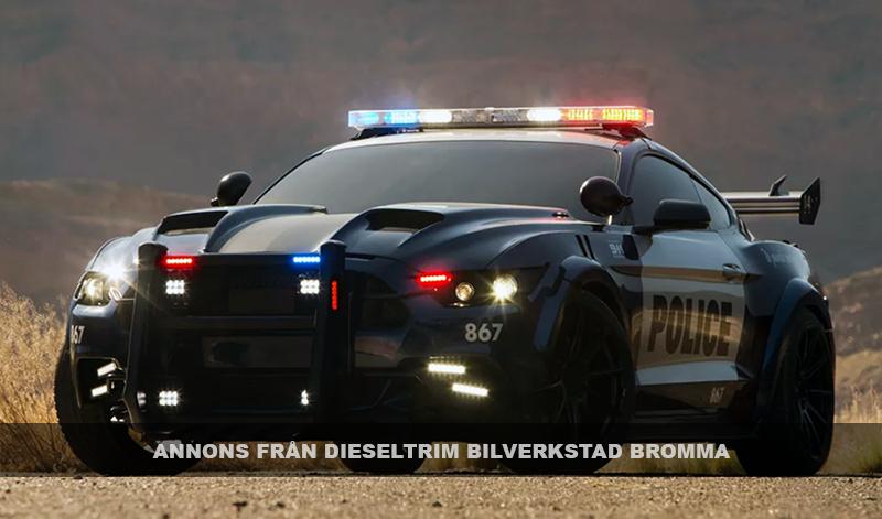 Dieseltrim Bilverkstad Bromma - Barricade Ford Mustang Police Car - Källa: MichaelBay.com