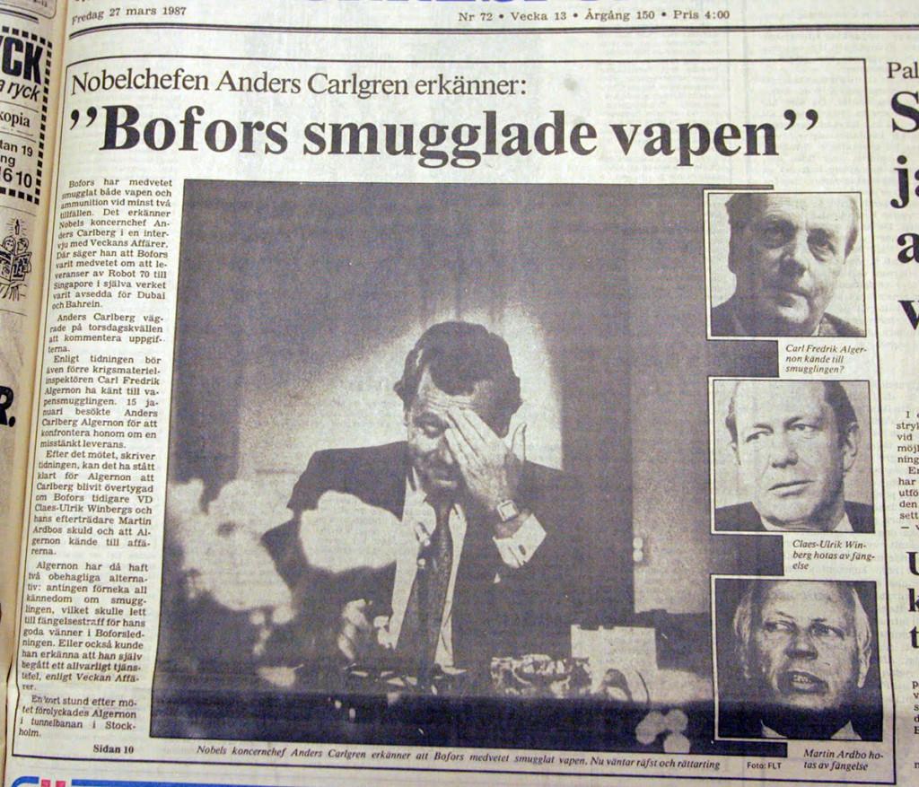 """Svensk vapenexport - Faksimil från DN den 27 mars 1987: """"Bofors smugglade vapen"""""""