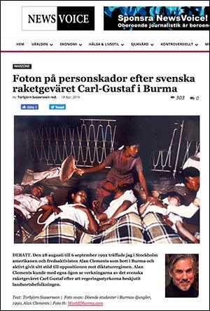 NewsVoice skriver om raketgeväret Carl-Gustaf i Burma