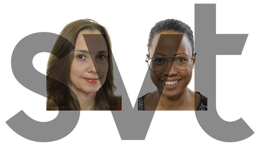 Boriana Åberg (M) och Alice Bah-Kuhnke (MP) diskuterar fake news på SVT - Pressfoton: Riksdagen | SVT-logo
