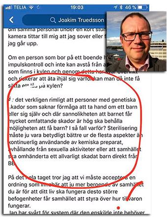 Joakim Truedsson på Facbook - Skärmdump och selfie