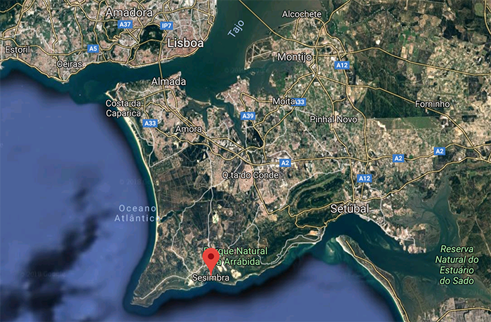 Lissabon och Sesimbra- Källa: Google Maps