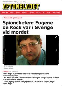 """""""Eugene de Kock var i Sverige vid mordet"""", 13 apr 2015 - Källa: Aftonbladet.se"""