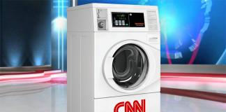 CNN kör nyheter i tvättmaskin. Bild från Babylon Bee.