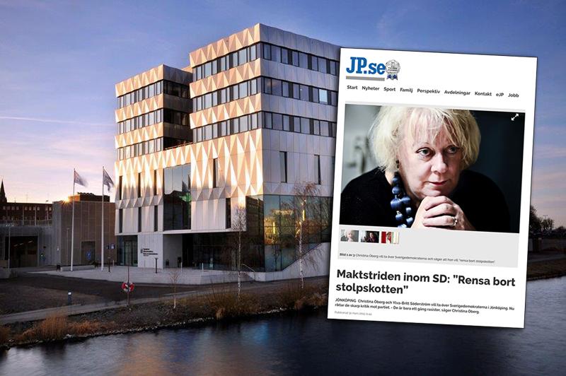 Skärmdump från JP.se och foto på Jönköpings Tingsratt från Jonkopingstingsratt.domstol.se