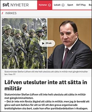 Stefan Löfven öppen för att sätta in militär mot gängvåld - Skärmdump från SVT.se