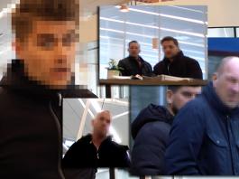 Vakterna som beskyddar Thomas Mattsson och Peter Wolodarski. Foton: Torbjörn Sassersson, NewsVoice och Alexander Almqvist-Paajanen, Nya Dagbladet 23 mars 2018
