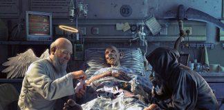 Liemannen och dödsängel spelar kort vid dödsbädd - Bild: HDQWalls.com
