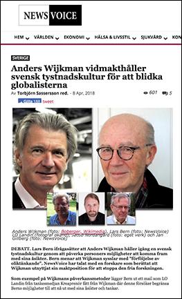 """Artikel: """"Anders Wijkman vidmakthåller svensk tystnadskultur för att blidka globalisterna"""", NewsVoice"""
