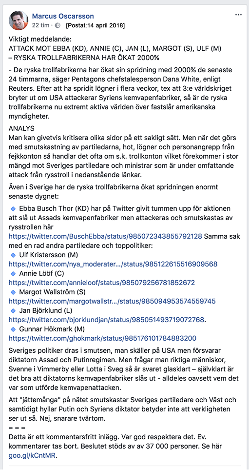 Marcus Oscarsson 14 april 2017 Facebook