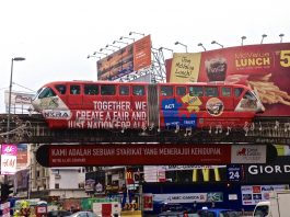 Monorail i Kuala Lumpur (Malaysia). Foto: EurovisionNim, Wikimedia Commons