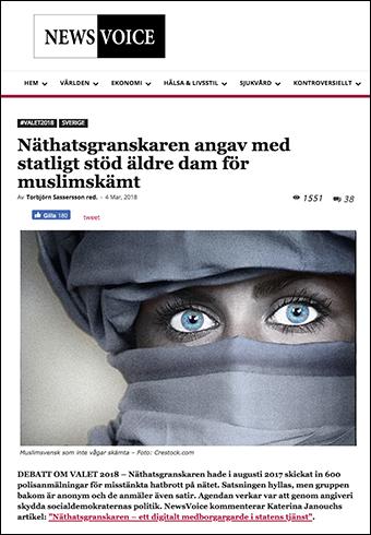 """NewsVoice: """"Näthatsgranskaren angav med statligt stöd äldre dam för muslimskämt"""""""