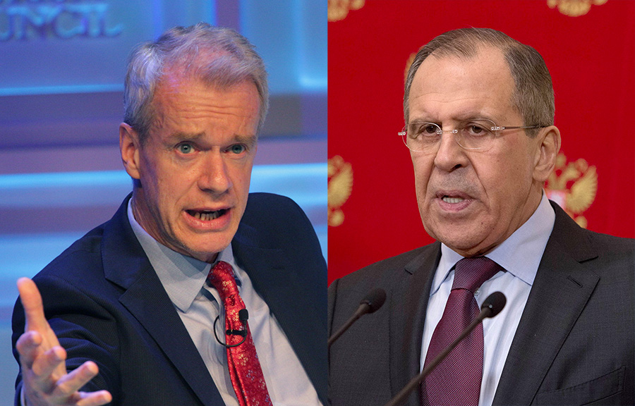 Stephen Sackur - Foto: World Travel and Tourism Council (CC BY 2.0) Sergey Lavrov - Foto: US Department of State (Public Domain)
