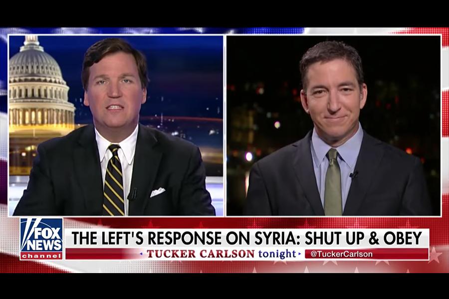 Tucker Carlson och Glenn Greenwald diskuterar medianeurosen - Foto: Fox News