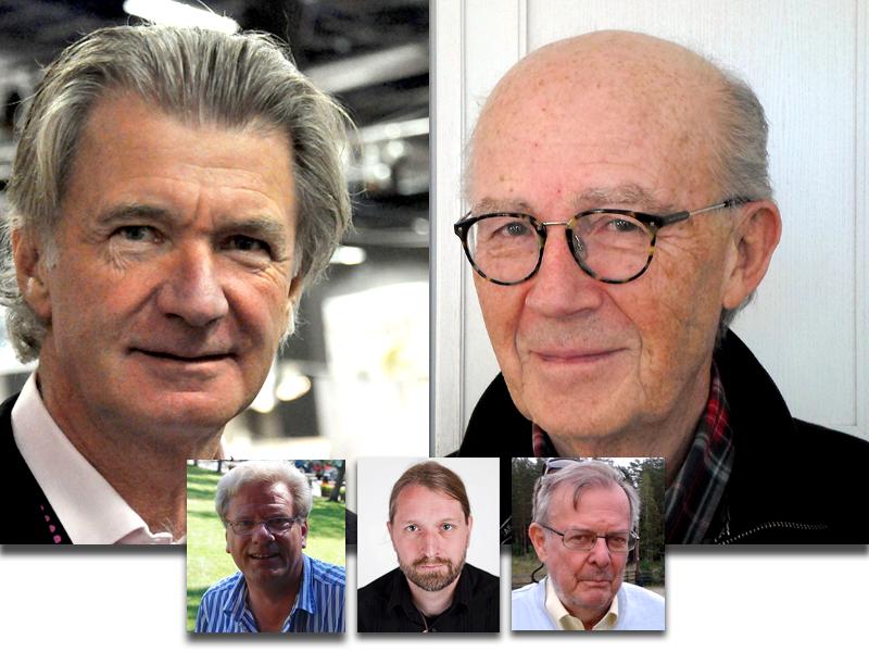 Anders Wijkman underhåller en tystnadskultur (foto: Boberger), Lars Bern (foto: NewsVoice) LO Landin (fotograf okänd), Jacob Nordangård (foto: eget verk) och Jan Gillberg (foto: NewsVoice)