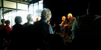 Pi-samtal den 28 mars 2018 på Kulturhuset Stadsteatern. Foto: Anonym