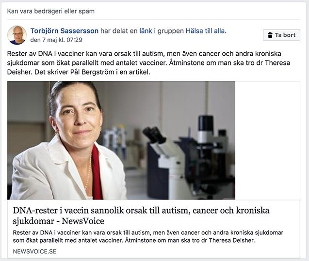 Facebook flaggade artikel om riskerna med vacciner som möjligt bedrägeri eller spam.