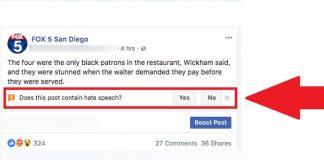 Facebook hate speech button
