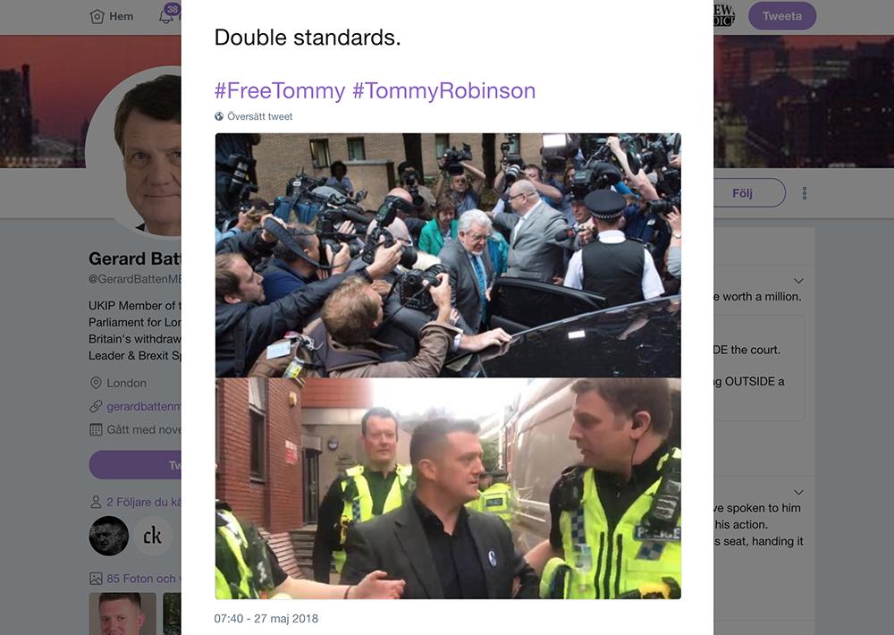 Gerard Batten twittrar om Tommy Robinson den 27 maj 2018