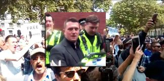 Montage: Tommy Robinson greps den 25 maj 2018 och protester blev konsekvensen i England