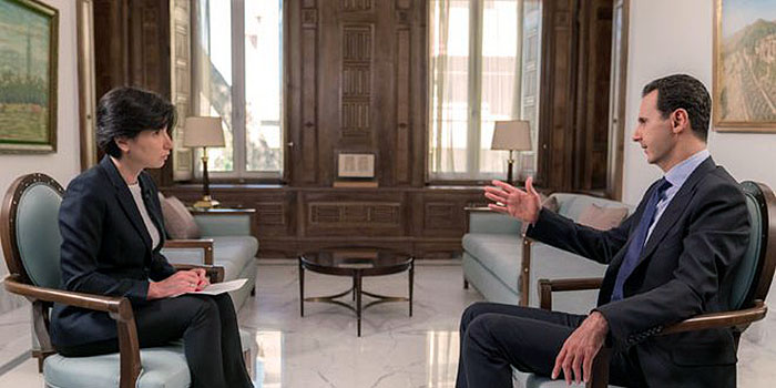 Assad intervjuas den 24:e juni 2018 i Damaskus. Foto: NTV Channel