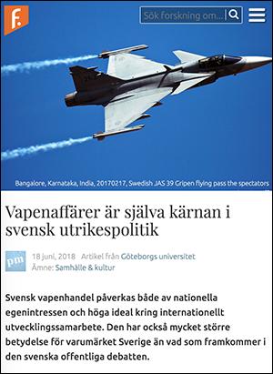 Artikel om svensk vapenhandel - Bild: Skärmdump från Forskning.se