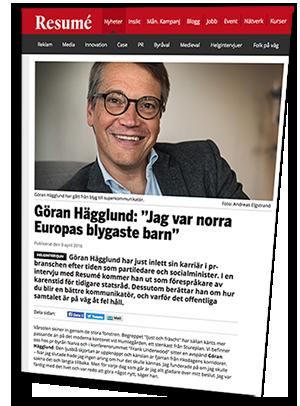 Göran Hägglund - Bild: monterad skärmdump av artikel i Resumé den 9 april 2016