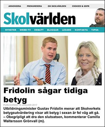 Gustaf Fridolin sågar tidiga betyg. Skärmdump från Skolvärlden