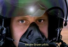 Bildruta från säljfilm för JAS Gripen. Faksimil: Saab.com