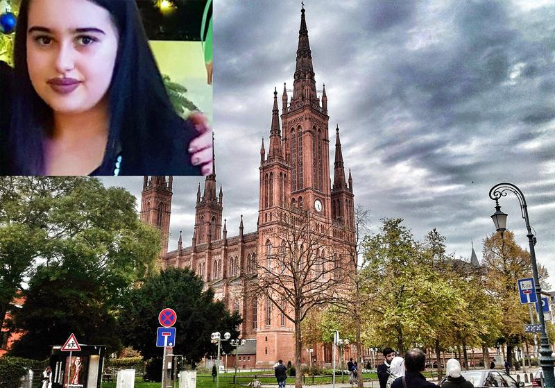 Bild: 14-åriga Susanna Maria Feldman (infälld) våldtogs och mördades av Ali Bashar, en irakisk asylsökande som fått avslag i Tyskland. Han dumpade hennes kropp i ett skogsområde i utkanten av Wiesbaden. Bildkällor: Feldmans Facebook-profil, Wiesbaden, Maxpixel